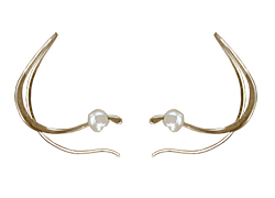 Curl Earrings in 14 kt. Gold and Freshwater Cultured Pearl