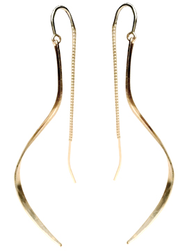 Ibis Earrings in 14 karat gold and sterling silver bond