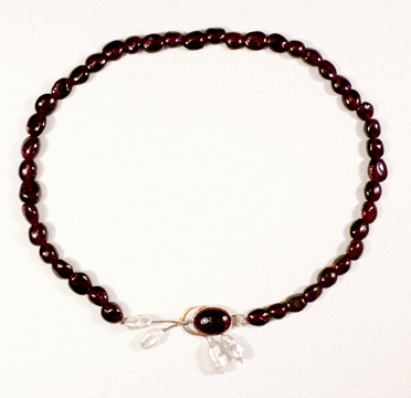 Garnet, gold, and freshwater cultured pearl necklace. One of a kind.