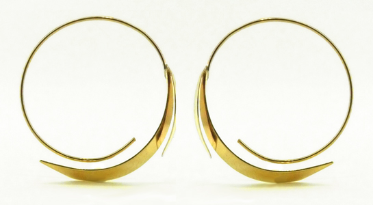 14 Karat Gold Leaf Hoop Earrings