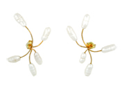 Pearl Web Earrings in 14 kt. Gold and Freshwater Cultured Pearl