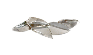 Folded Leaf Pin in Sterling Silver