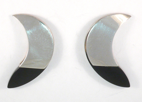 Crescent Moon Earrings in Sterling Silver and Black Onyx