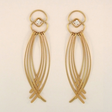Fringe Crossing Earring Jacket, in 14 Kt. Gold or Sterling Silver