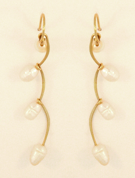 Joined Curves Earrings, 14 Kt. Gold and Freshwater Cultured Pearl