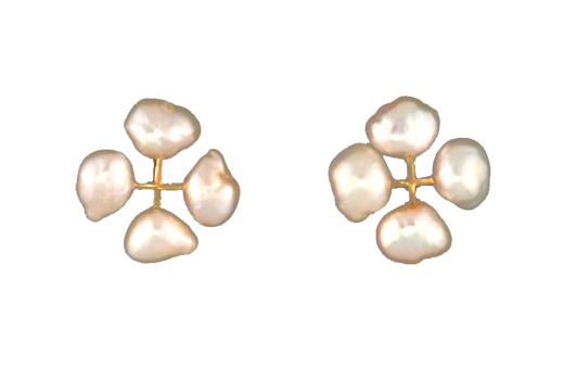 Quad Pearl Lace Earrings with Freshwater Cultured Pearls and 14 kt. Gold