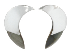 Crescent Moon Earrings in Sterling Silver and Grey Mother of Pearl