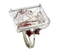 Rutilated Quartz Ring with Rhodolite Garnets and 14 kt. white gold